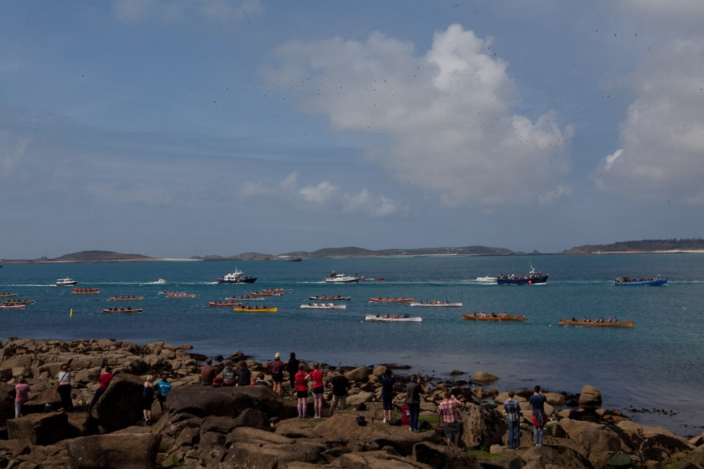 gig boats stream into St Mary's Harbour