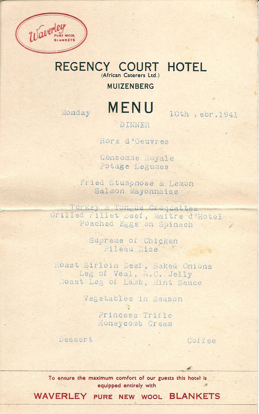 1941 muizenberg hotel menu